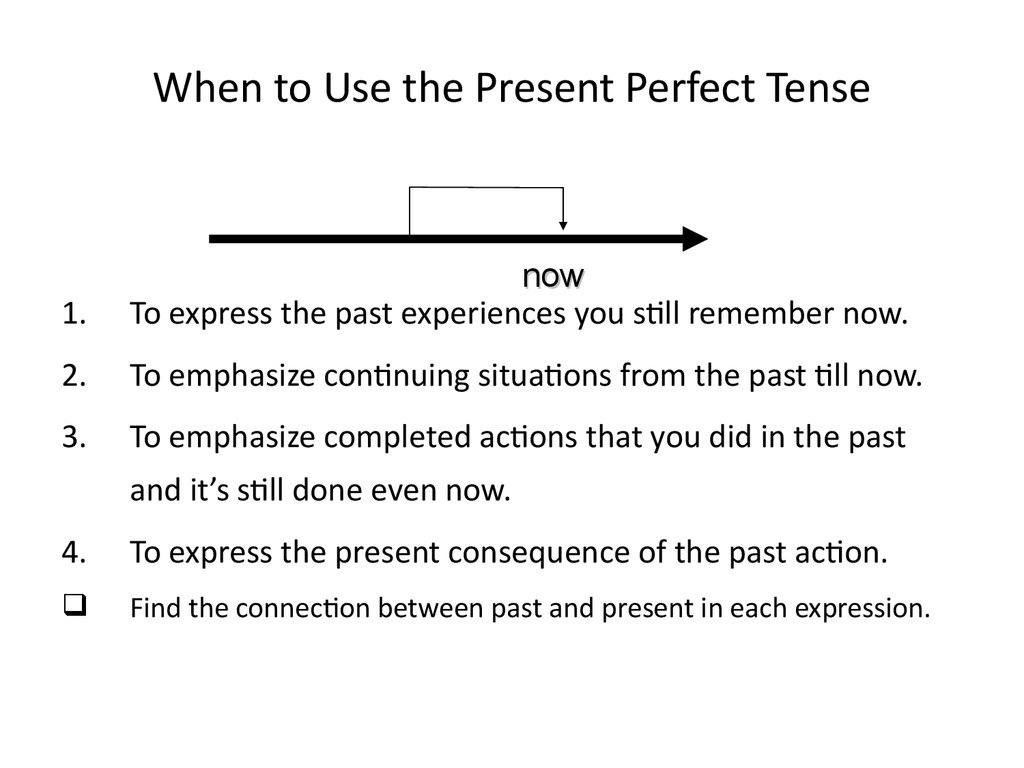 When to Use the Present Perfect Tense