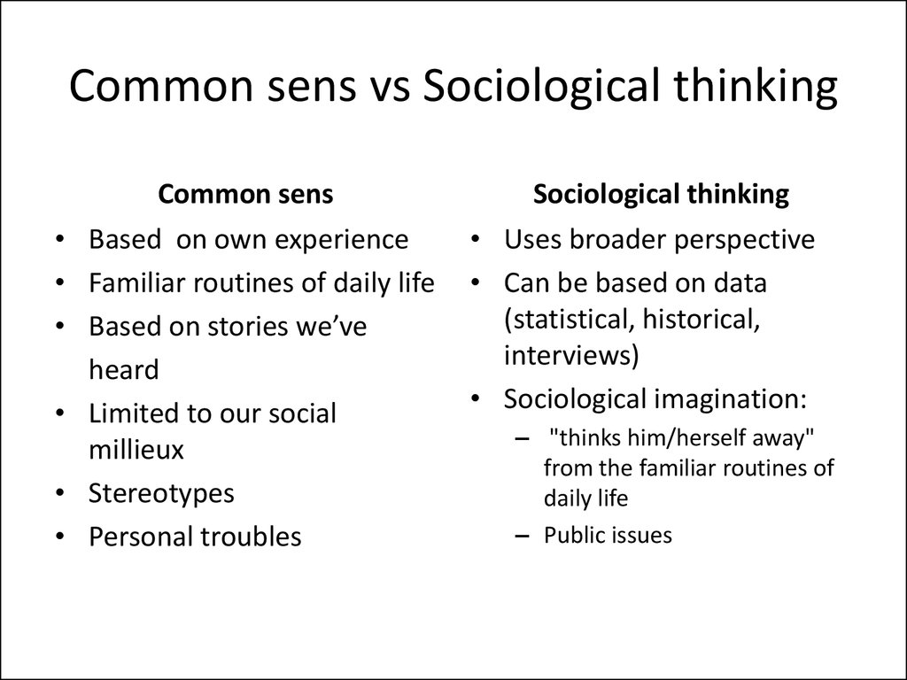 Common sens vs Sociological thinking