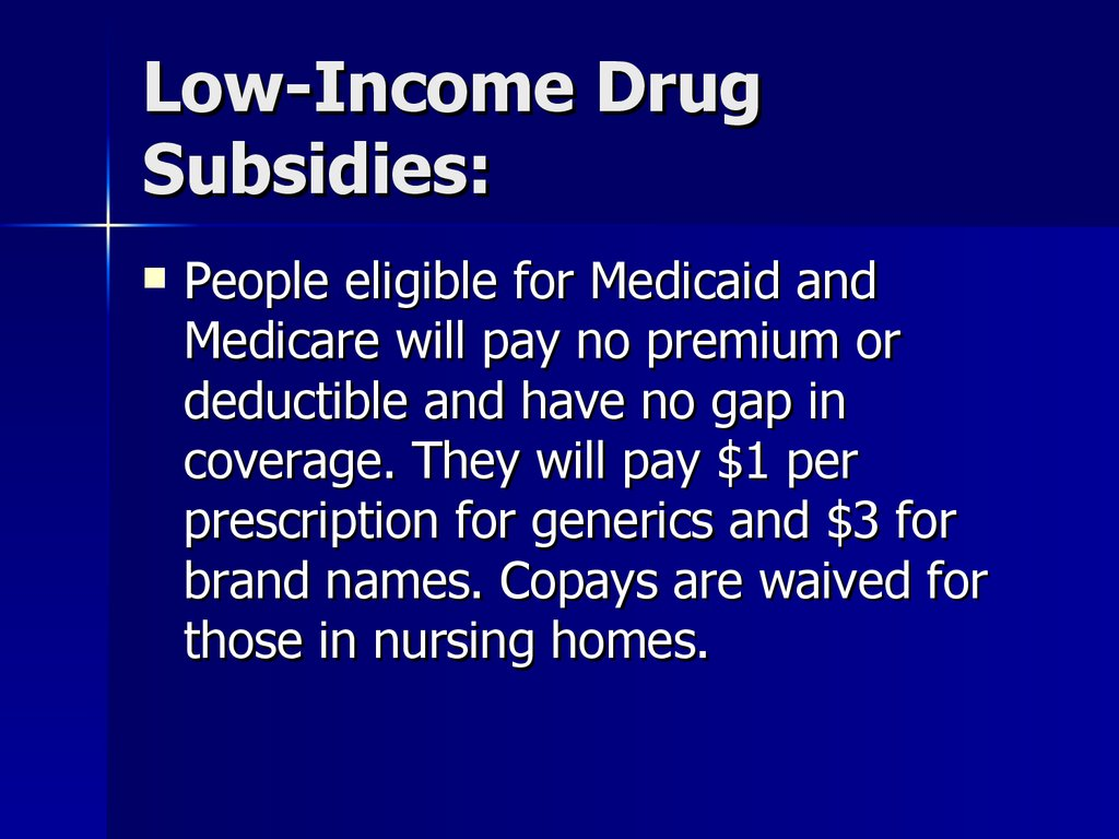 Low-Income Drug Subsidies: