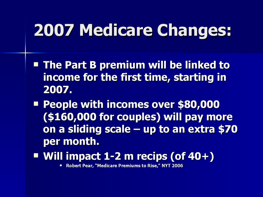 2007 Medicare Changes: