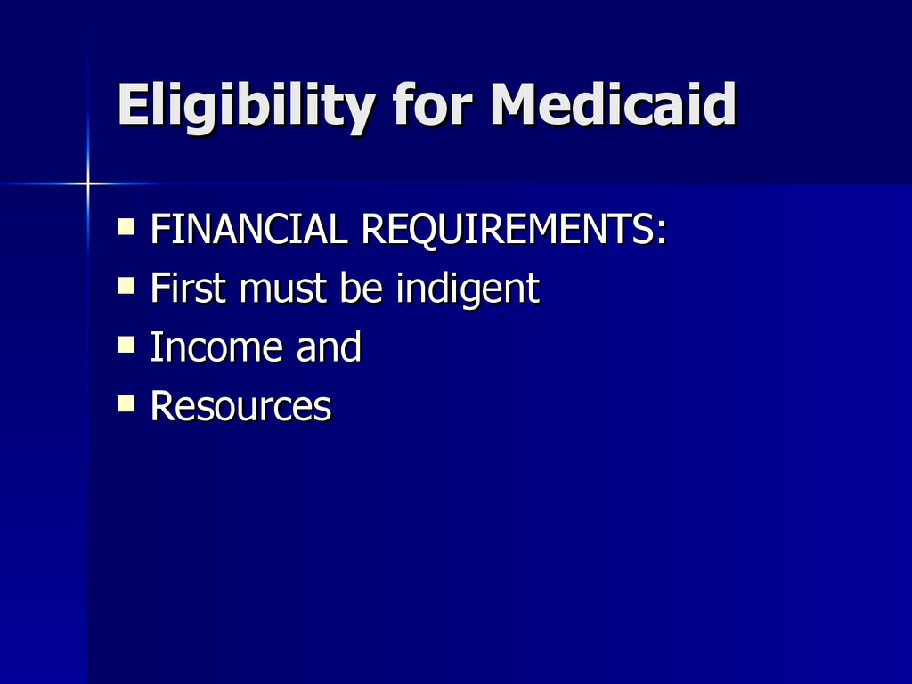 Eligibility for Medicaid