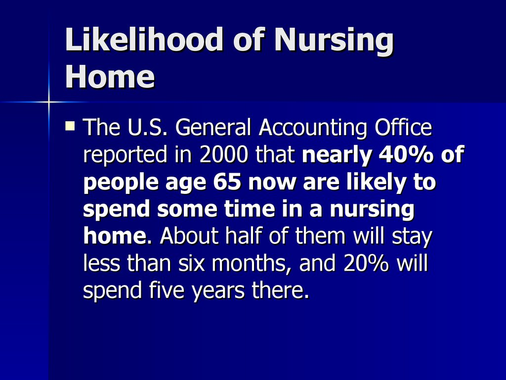 Likelihood of Nursing Home