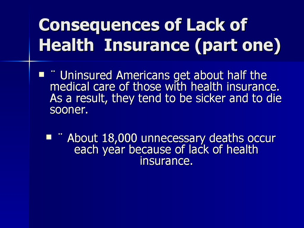Consequences of Lack of Health Insurance (part one)