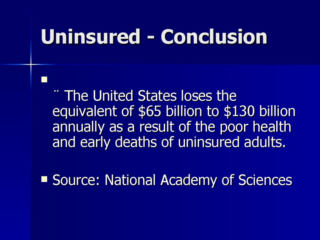 Uninsured - Conclusion