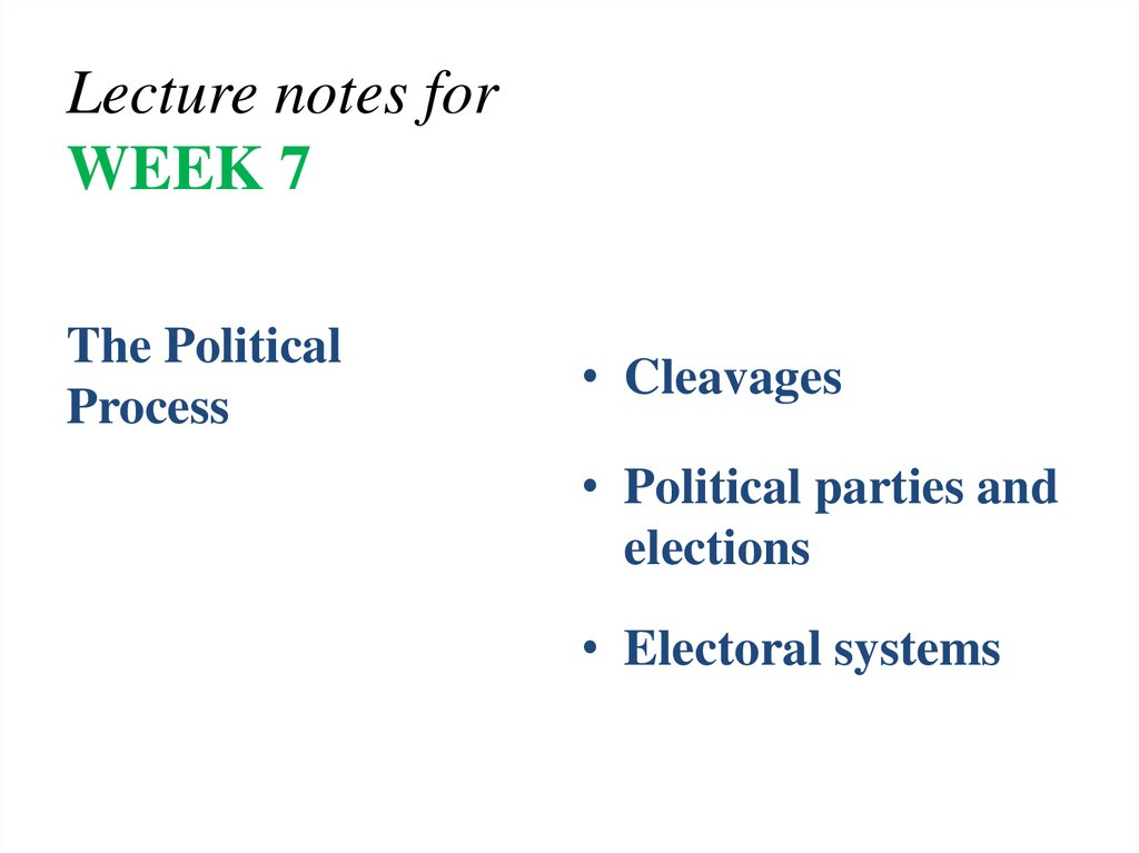 Lecture notes for WEEK 7