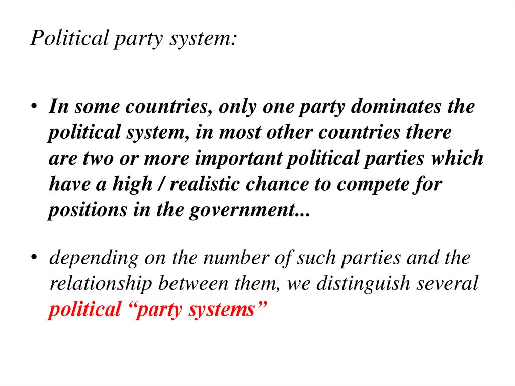 Political party system:
