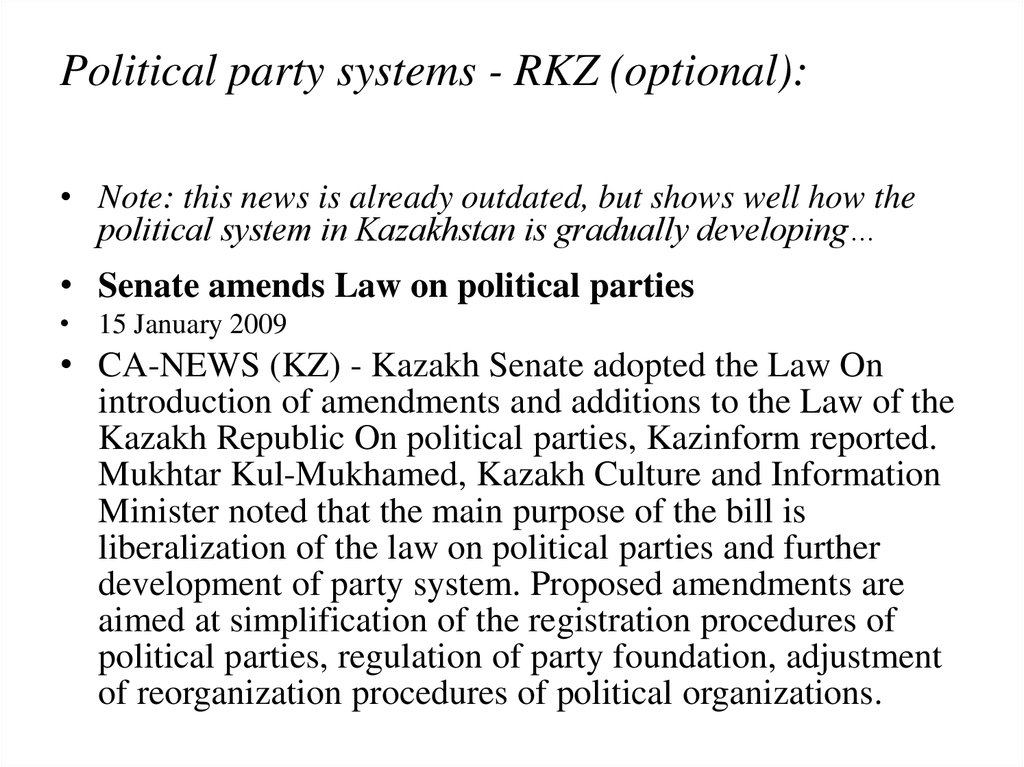 Political party systems - RKZ (optional):