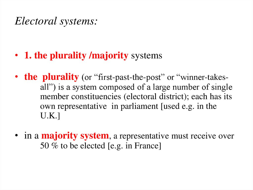 Electoral systems: