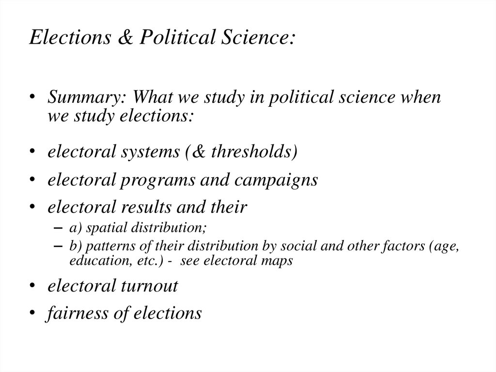 Elections & Political Science: