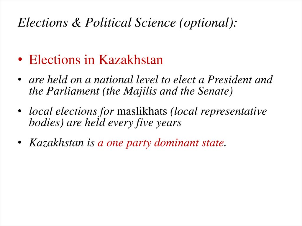 Elections & Political Science (optional):