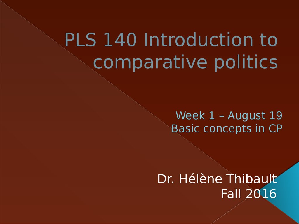 PLS 140 Introduction to comparative politics