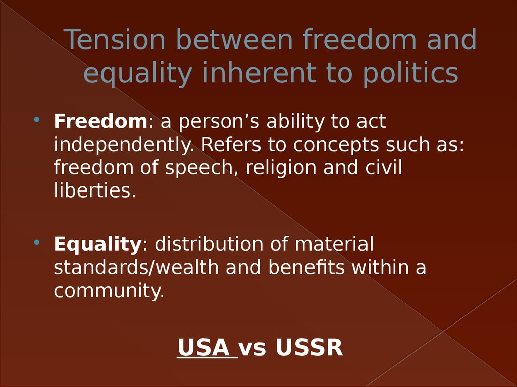 Tension between freedom and equality inherent to politics