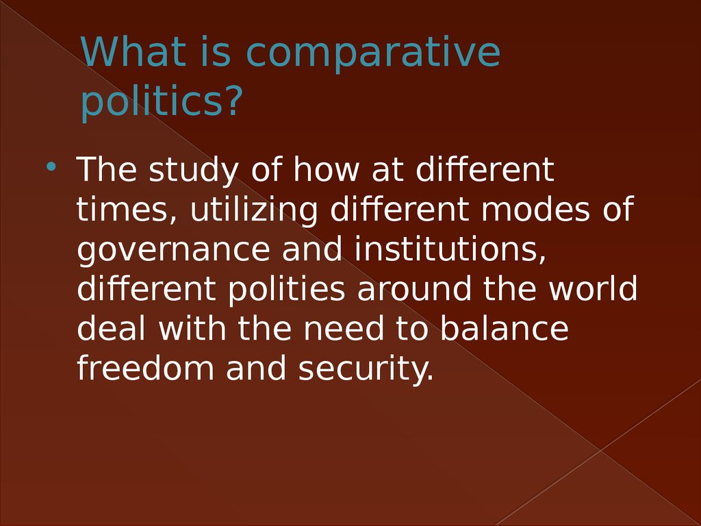 What is comparative politics?