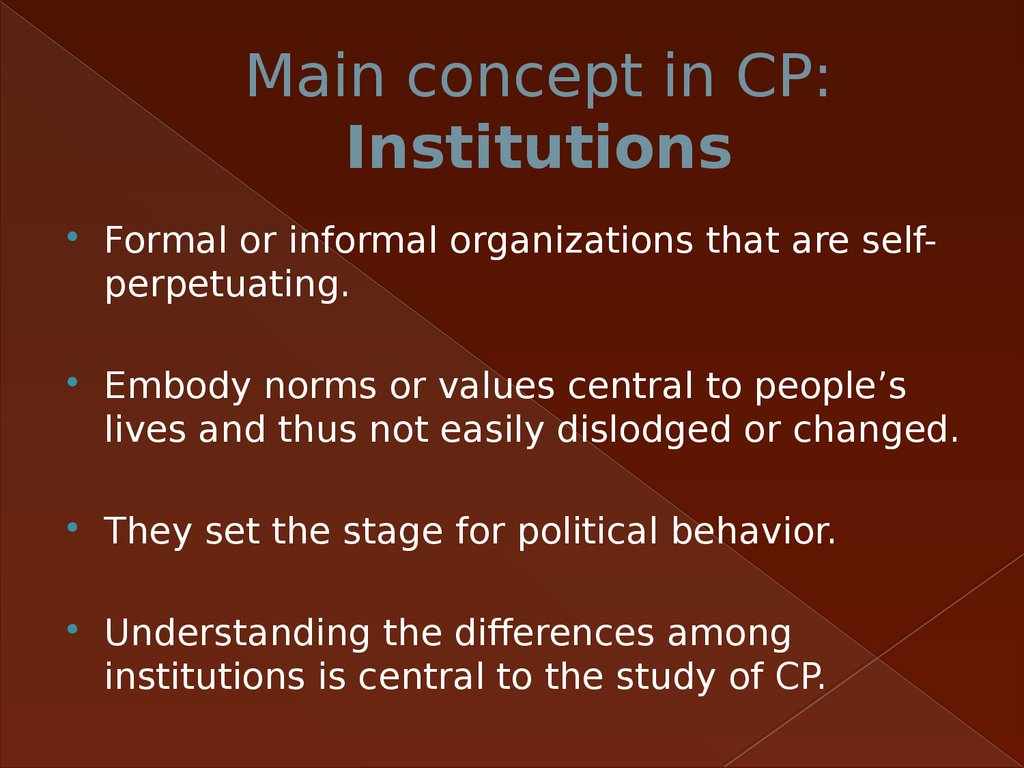 Main concept in CP: Institutions