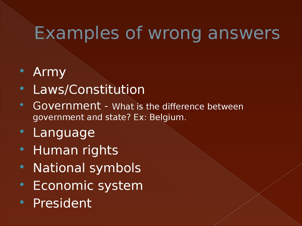 Examples of wrong answers
