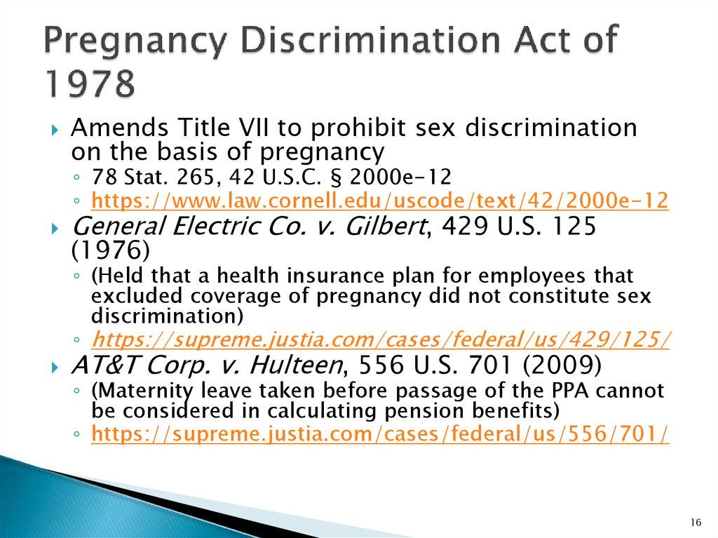 pregnancy discrimination act research paper Congressional research service 7-5700 wwwcrsgov pregnant, claiming that the employer's actions violated the pregnancy discrimination act sex discrimination and the united states supreme court: developments in the law -the the -.