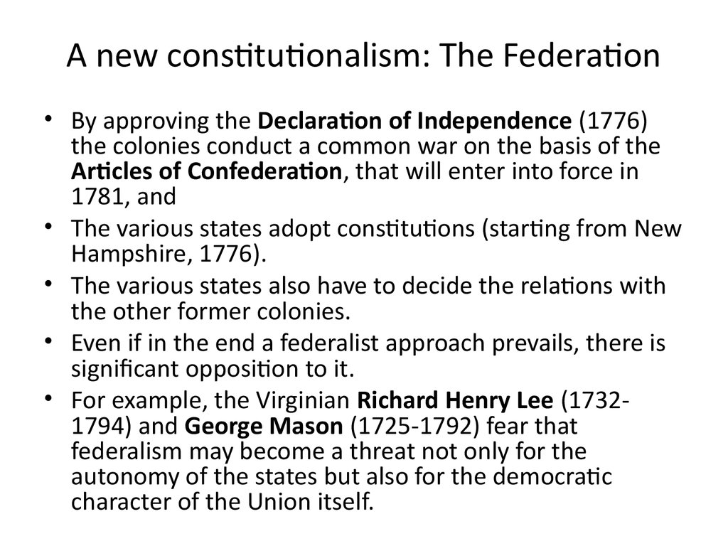 A new constitutionalism: The Federation