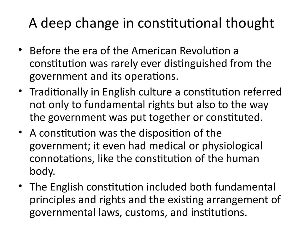 A deep change in constitutional thought
