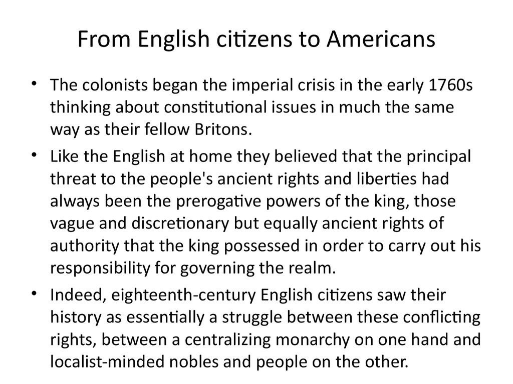 From English citizens to Americans
