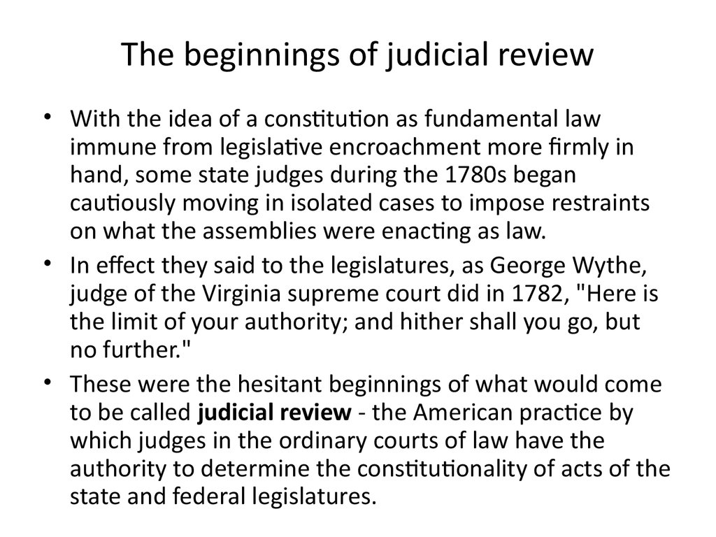 The beginnings of judicial review