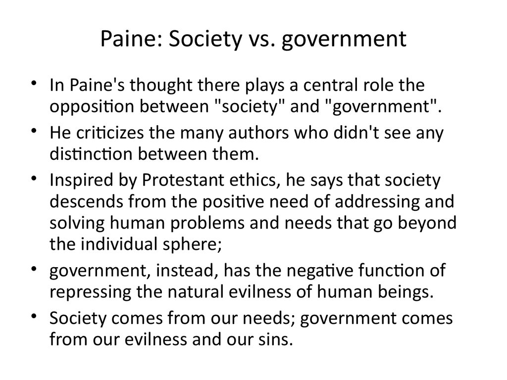 Paine: Society vs. government