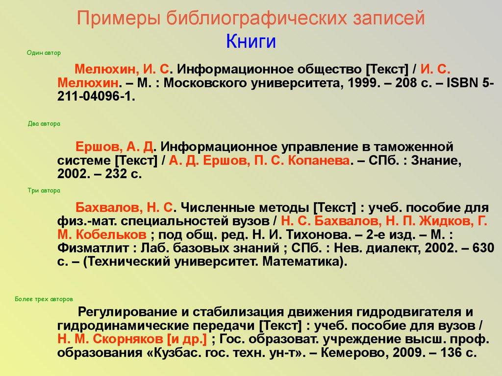 Библиографическое описание online presentation  библиографического описания Схема Примеры библиографических записей Книги