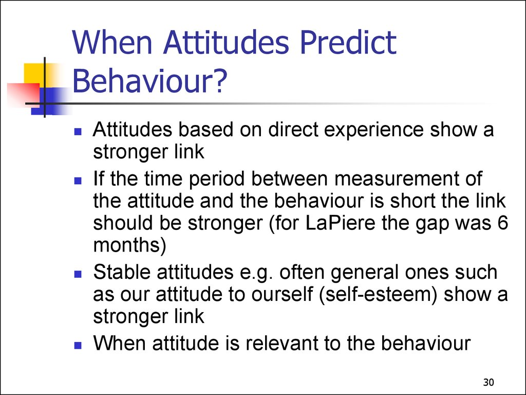 attitudes predicting bahiour Predicting attitudes from behavior • cognitive consistency theories • experiencing and reducing dissonance • when does inconsistency produce dissonance.