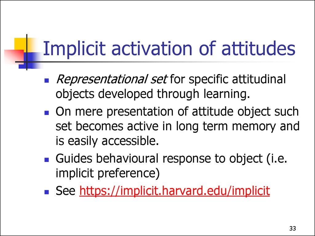 Implicit activation of attitudes