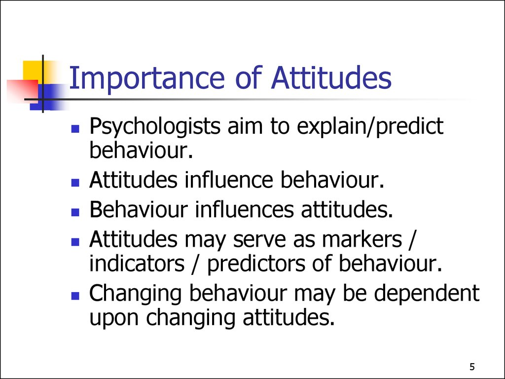 importance of attitude and social norms in Social norms also allow an individual to assess what behaviors the group deems important to its existence or survival, since they represent a codification of belief groups generally do not punish members or create norms over actions which they care little about.
