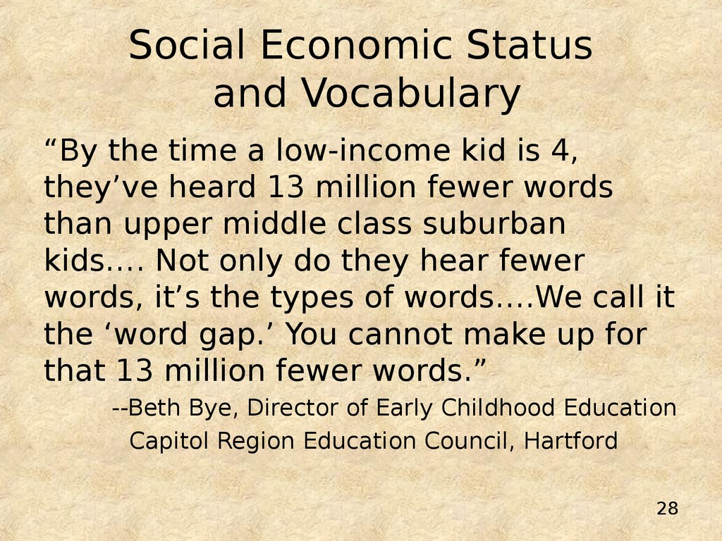 Social Economic Status and Vocabulary