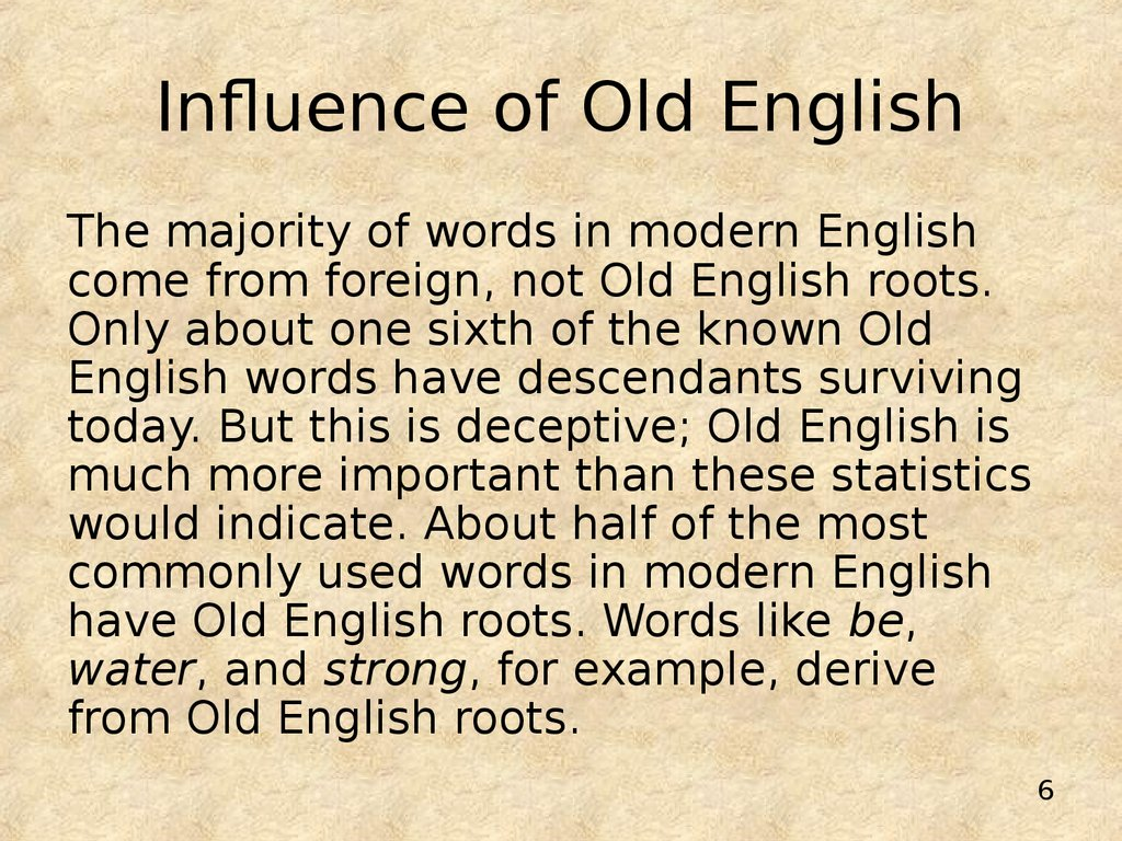 Influence of Old English