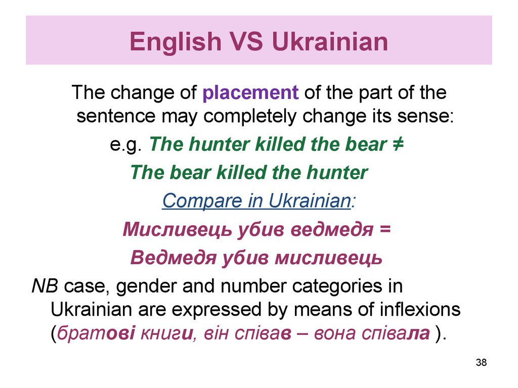 English VS Ukrainian