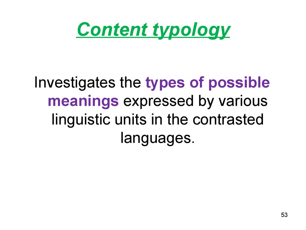Content typology
