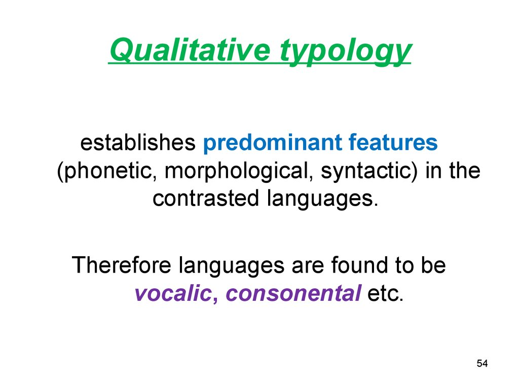 Qualitative typology