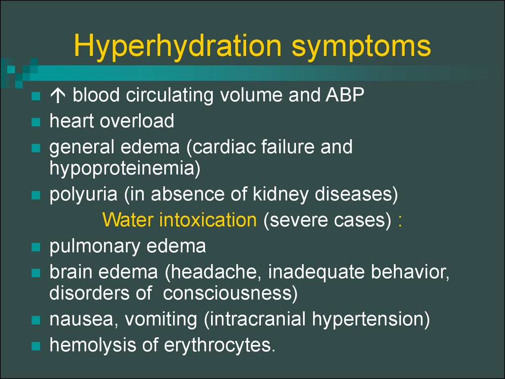 Hyperhydration symptoms