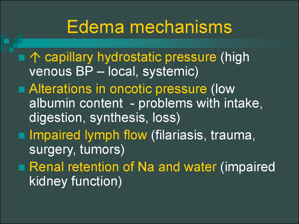 Edema mechanisms