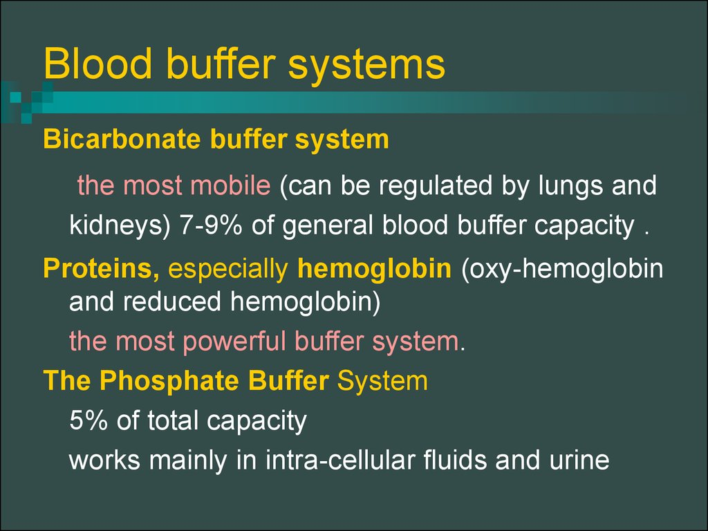 Blood buffer systems