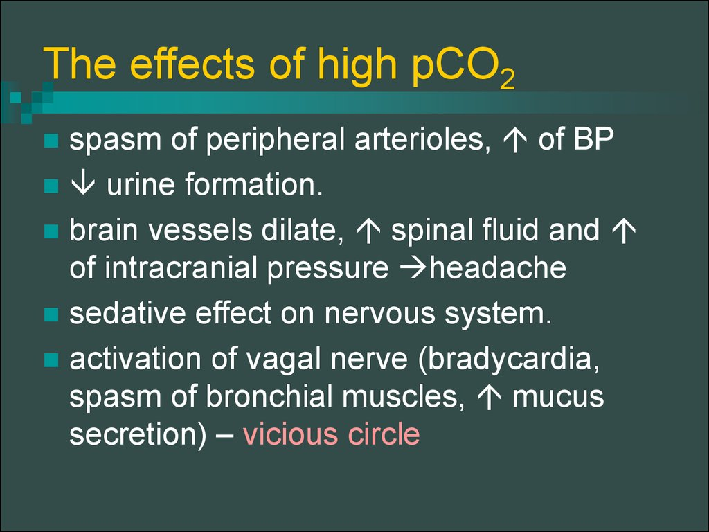 The effects of high pCO2