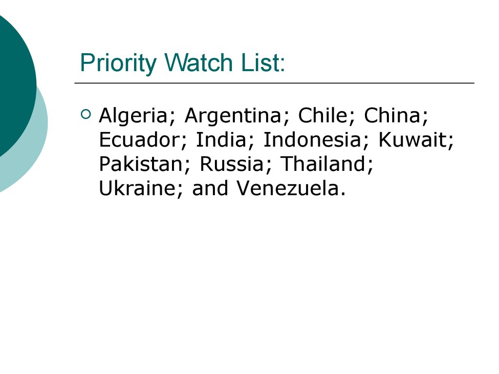 Priority Watch List: