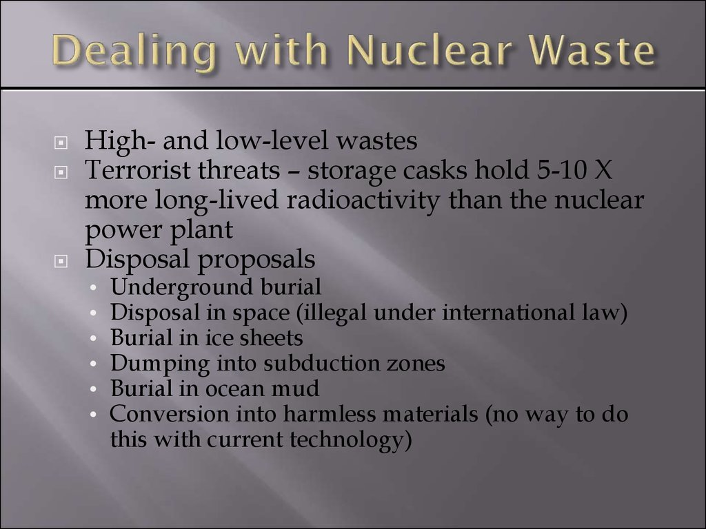 Dealing with Nuclear Waste