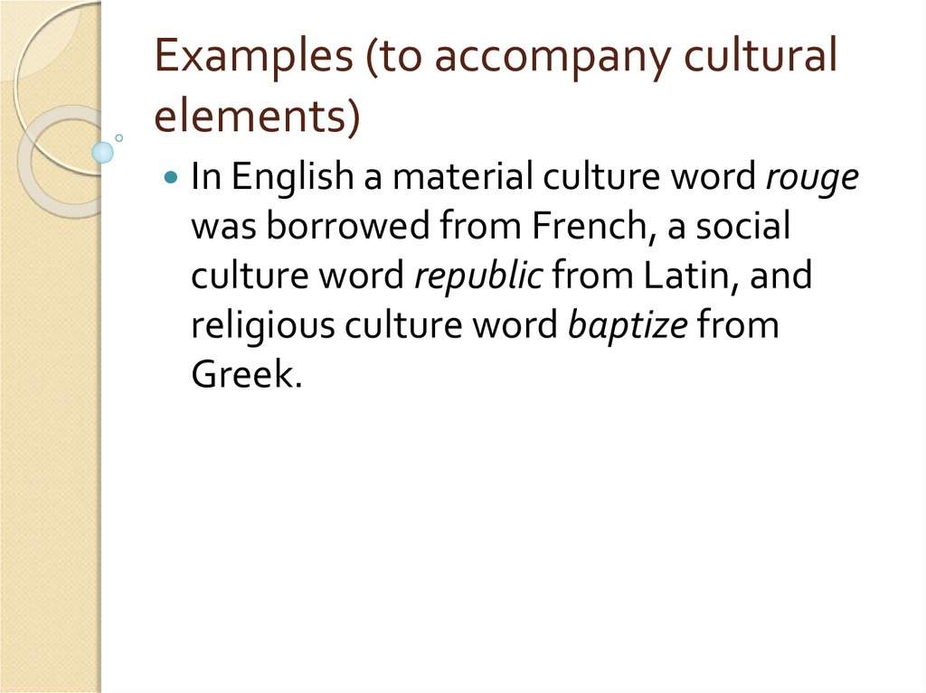 Examples (to accompany cultural elements)