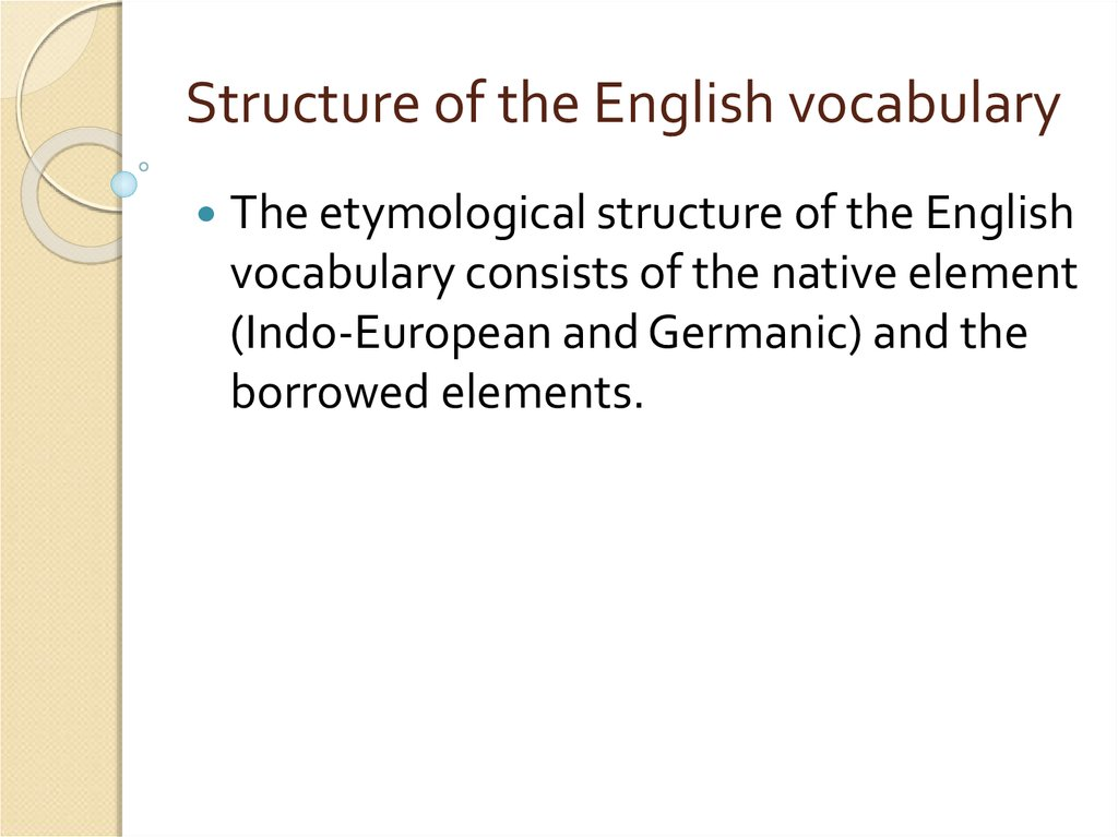 Structure of the English vocabulary