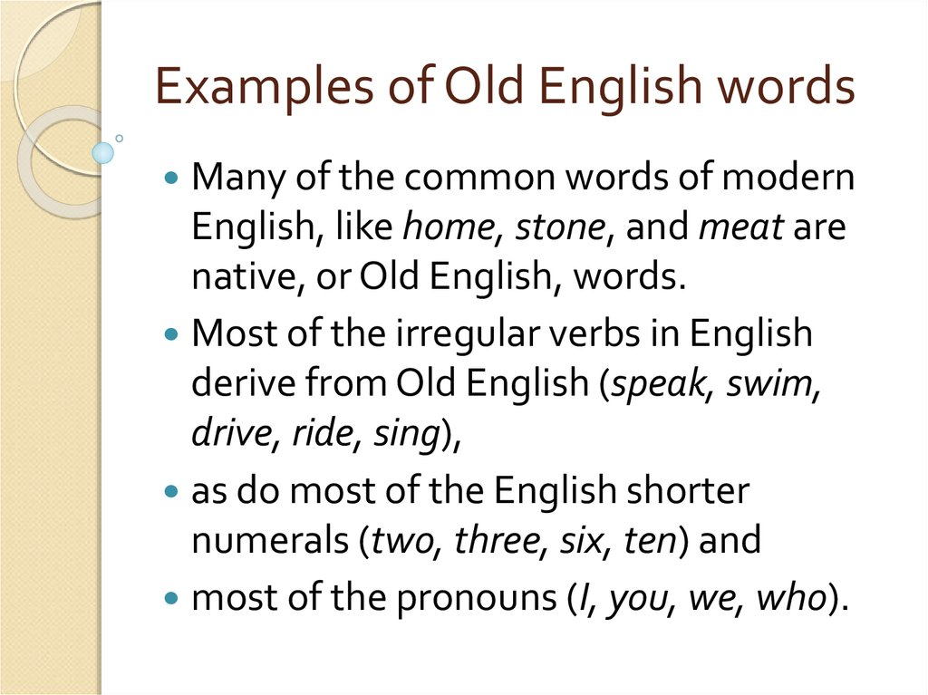 The origin of english words  (Lecture 3) - презентация онлайн