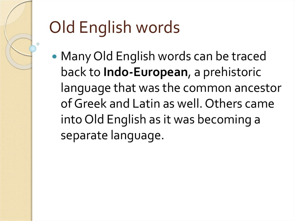 Old English words