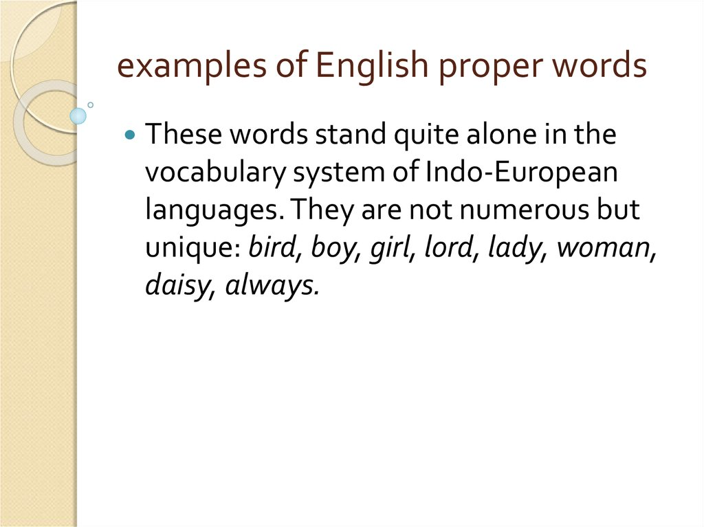 examples of English proper words