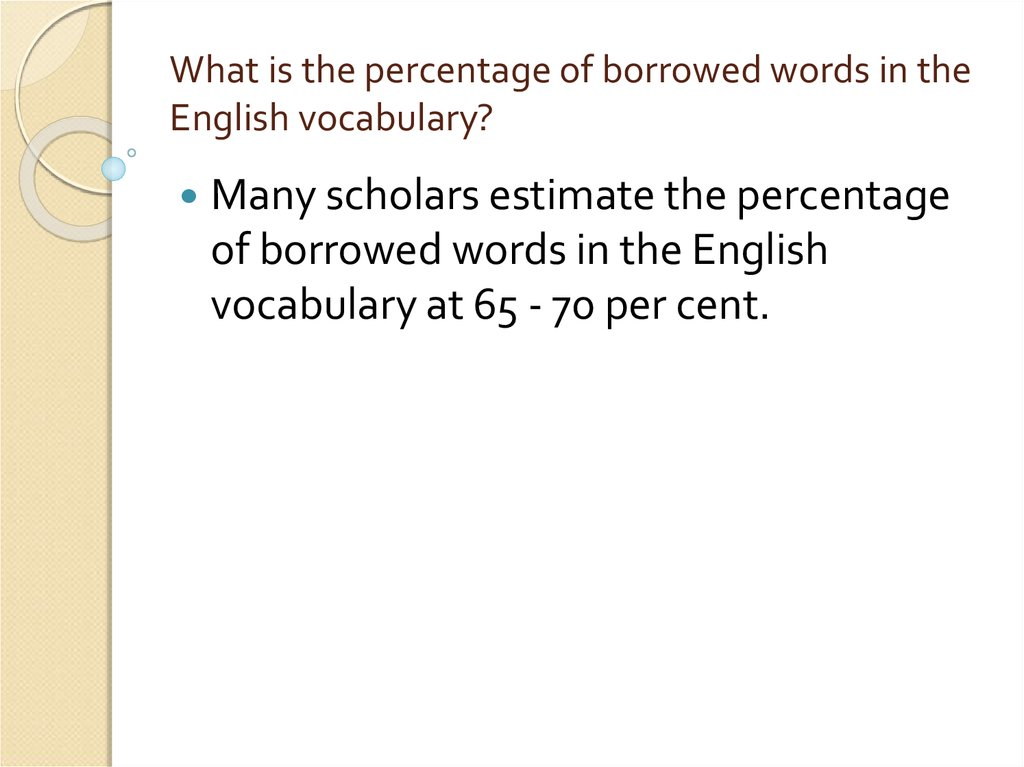 What is the percentage of borrowed words in the English vocabulary?