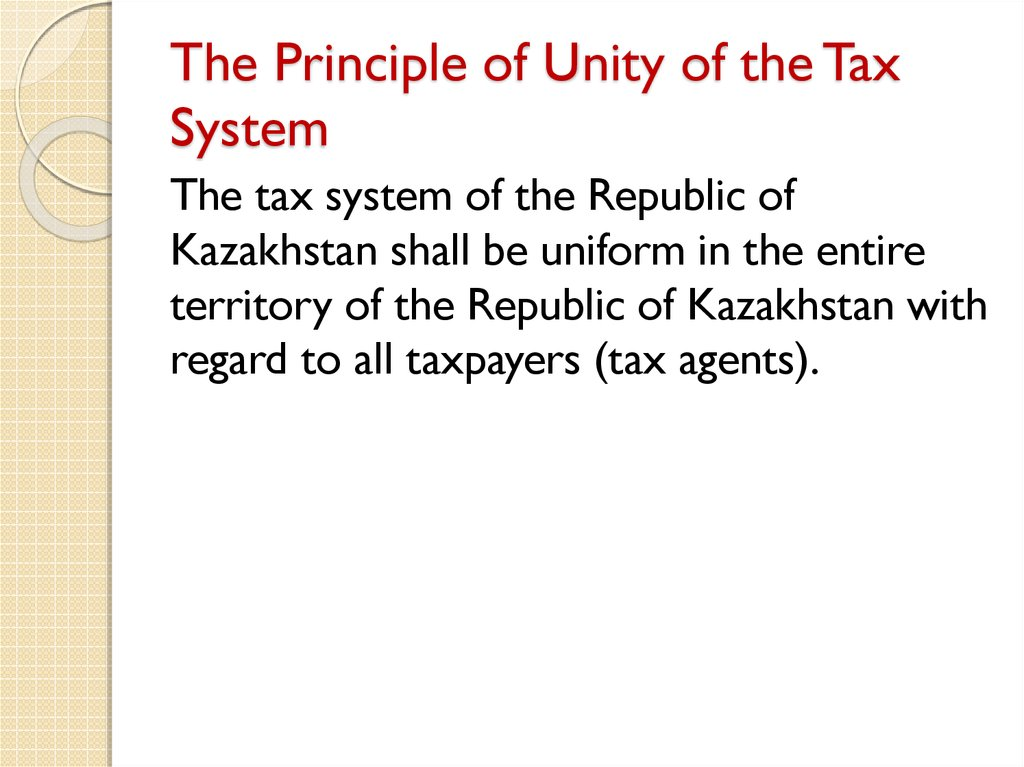 The Principle of Unity of the Tax System
