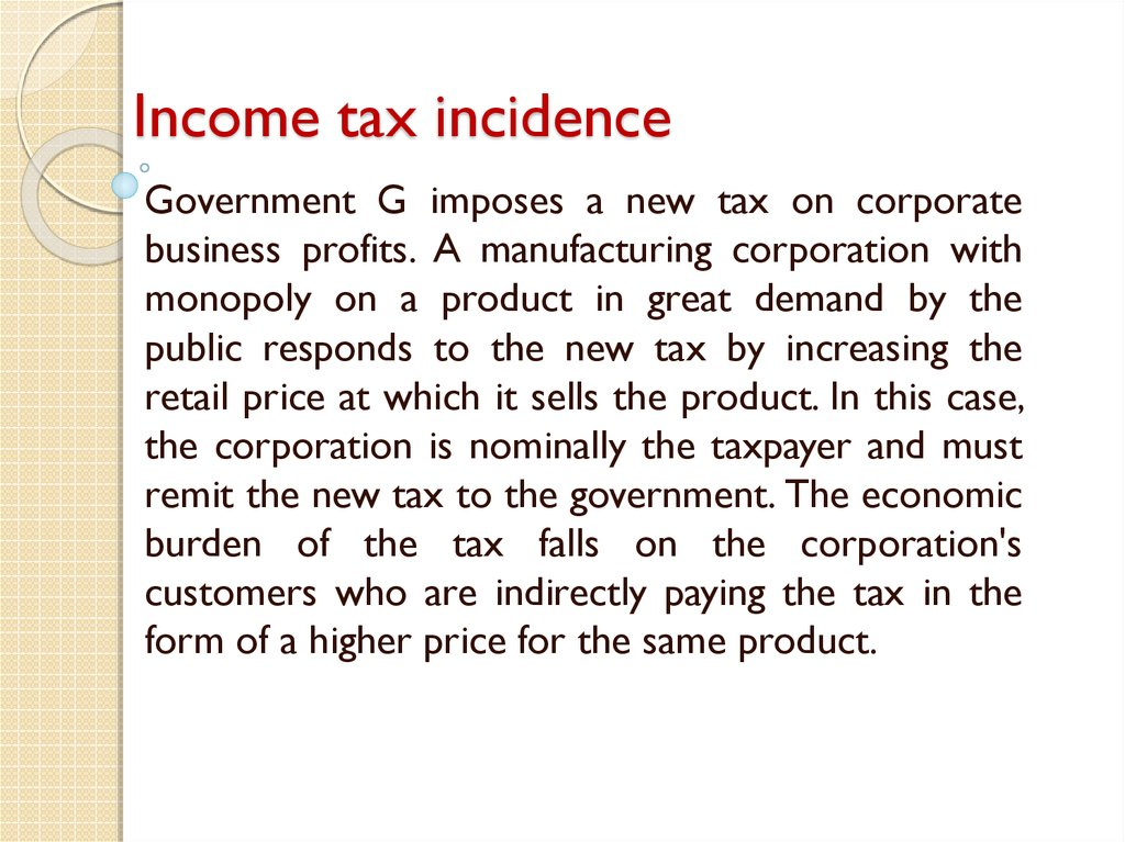 Income tax incidence