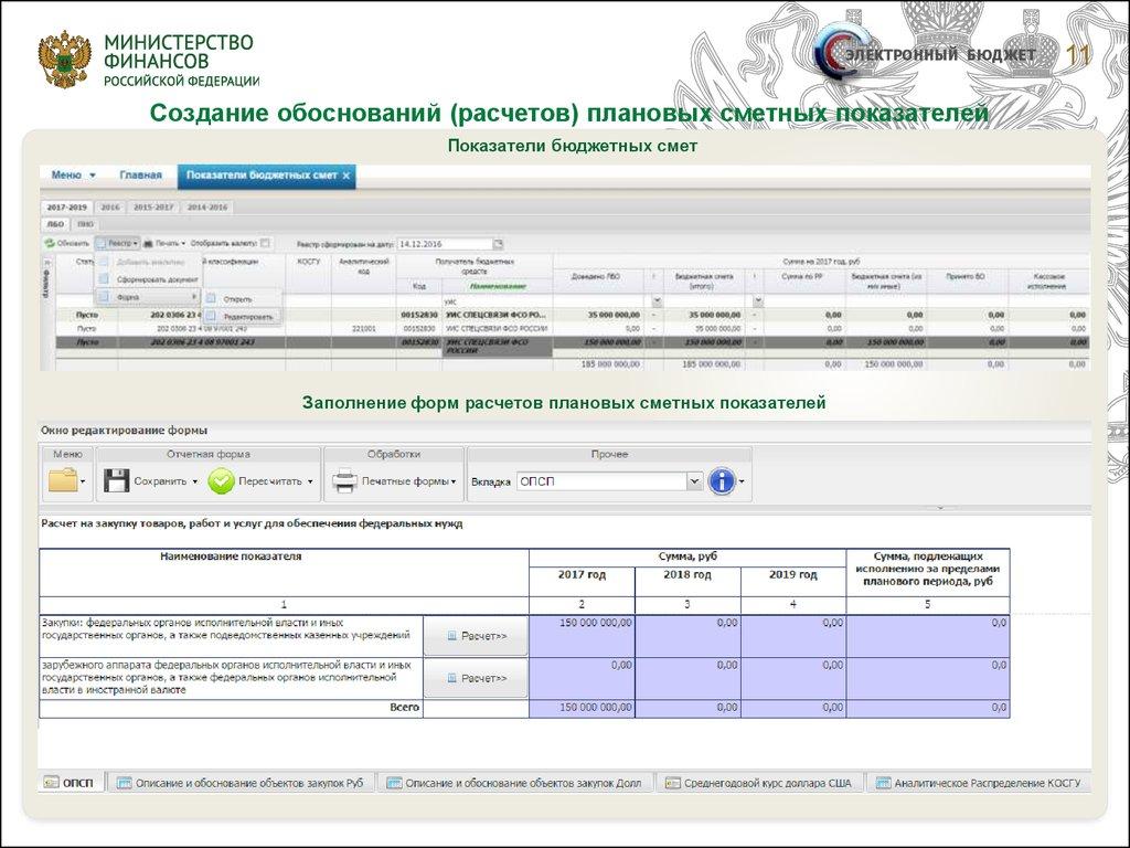 Формирование бюджетных смет казенных учреждений в системе.