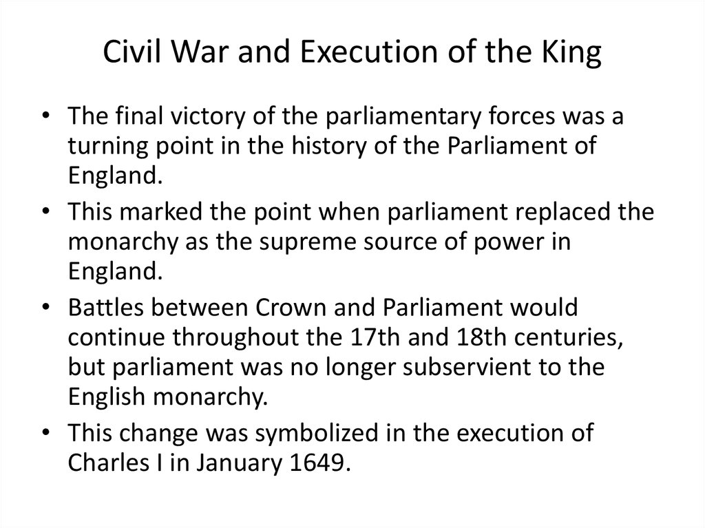 Civil War and Execution of the King